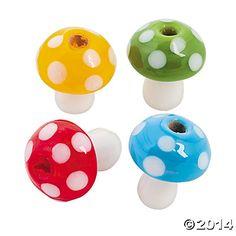 Mushroom Lampwork Beads - 18mm