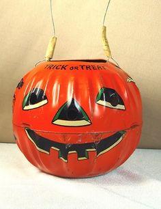 Lithographed tin pumpkin.