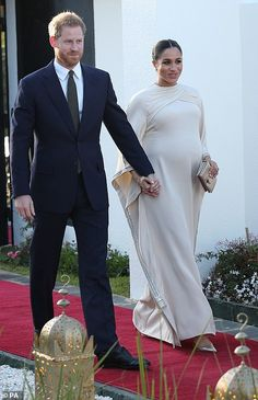 Prince Harry, Duke of Sussex with his pregnant wife, Meghan. The crystal detailing on the glowing Duchess of Sussex's gown caught the light as she arrived at the British . Prince Harry Et Meghan, Meghan Markle Prince Harry, Princess Meghan, Prince And Princess, Harry And Meghan, Prinz Harry Meghan Markle, Dior Gown, Valentino Gowns, Meghan Markle Style