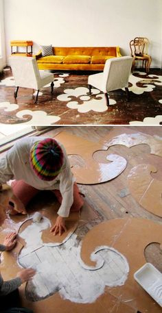 I would love to do this on paved brick in a back yard.  DIY : dramatic stencils on wood floors