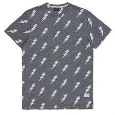 This t-shirt is grey with white lightning bolts.
