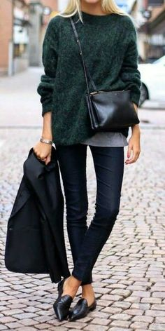 Oversized Dark Green Sweater + Dark Skinny Jeans + Black Flats + Crossbody Bag - Women's Fashion