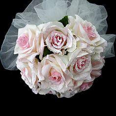 Elegant Satin Round Shape Wedding Bridal Bouquet – USD $ 14.99