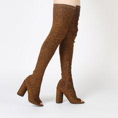 Jana's for all you cheeky chappies out there. These thigh high booties are sure to make a statement. The sock fit design means these will cling to your legs in all the right places. Here comes the cheeky part....Jana features an open peeptoe to let a lil' bit of your pedicure sneak on through. Pair these with a ribbed bodycon dress, we're loving these with earthy palettes such as camel and nude.   Heel Height: 4.5\