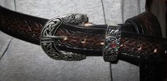 Celtic Dragon Belt with Silver Buckle set by EarthlyLeatherDesign