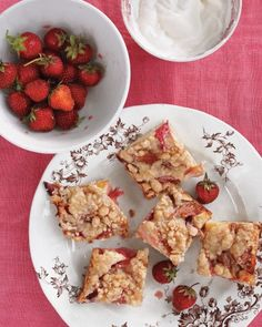 "Rhubarb Buckle This dessert belongs in everyone's ""outdoor entertaining"" file. The cake squares, embellished with moist fruit and a crunchy topping, are meant to be eaten out of hand."