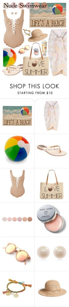 """Bare it All: Nude Swimwear"" by hubunch ❤ liked on Polyvore featuring Aveeno, Liora Manné, TIARA, Marysia Swim, Style & Co., Deborah Lippmann, Bobbi Brown Cosmetics, Links of London, Venessa Arizaga and Helen Kaminski"