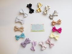 NEW COLORS! Your choice 2 leather hair bow headbands or hair clips, gold, pink, black, bronze leather hairbows for girls, toddlers and baby on Etsy, $14.00