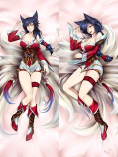 1girl ahri animal_ears bare_shoulders black_hair blush breasts cleavage collarbone dakimakura detached_sleeves facial_mark fox_ears fox_tail full_body highres korean_clothes large_breasts league_of_legends lips long_hair lying multiple_tails multiple_views open_mouth panties slit_pupils solo tail underwear vilde_loh_hocen whisker_markings yellow_eyes