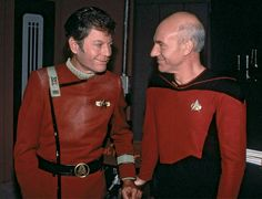 Deforest Kelley meets Patrick Stewart during the making of the first season of TNG, which happened right next to Star Trek V: the Final Frontier.