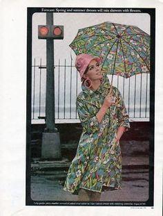 1966 Patent Vinyl Patterned Raincoat Vogue Pattern Ad