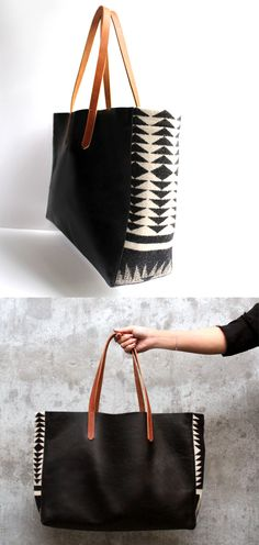 Looking for a black leather tote with a little something extra? The Pendleton wool on this rendition makes a bold, geometric statement but matches just about everything. In addition to the essentials (keys, phone, wallet), this handbag is big enough to hold a bottle of water, paperback and cosmetic case-you could even tote your laptop.