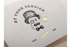 At your service letterpress and gold foil business card Graphic Design Typography, Graphic Design Art, Print Design, Logo Design, Bussiness Card, Calling Cards, Identity Design, Brand Identity, Corporate Identity