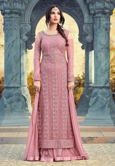 Pista Green With Chikankari Embroidered Designer Flared Gharara Palazzo Suit Set Sharara Designs, Kurti Designs Party Wear, Pakistani Dresses, Indian Dresses, Indian Outfits, Ethnic Outfits, Indian Clothes, Party Wear Dresses, Bridal Dresses