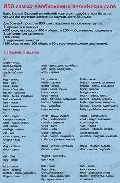 850 слов на английском языке, выучив которые вы будете свободно говорить!