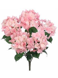 """Hydrangea Silk Flowers Bush in Two Tone Pastel Pink 21"""" Tall"""