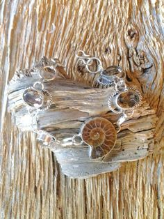 Handmade Fossilized ammonite silver bracelet with upcycled