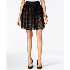 Bcx Juniors' Lace A-Line Skirt ($39) ❤ liked on Polyvore featuring skirts, black, lace a line skirt, knee length a line skirt, lacy skirt, knee length lace skirt and lace skirt