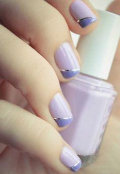 Creative Nail Designs - Fall Strip Manicure - #fall, #purple, #blue, #gold, #strip, #metallic, #trendy