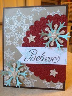 Snowflake Soiree, Snow Flurry die, Scallop Circle die, Lacy Brocade folder - Catherine Loves Stamps