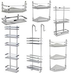#Chrome Satina #hanging Rectangle Corner Shower Caddy #bathroom Shelf  Basket Tidy, View More On The LINK:  Http://www.zeppy.io/product/gb/2/301115689925/