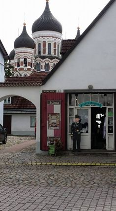A sourvenir shop with a view of the Cathedral in Tallinn Estonia