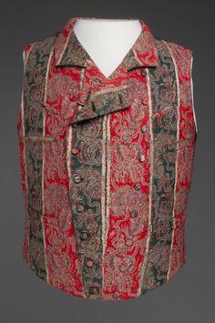 1858-1875, America - Waistcoat by W & F Carpenter, Philadelphia - Red and black striped wool lampas, silk twill