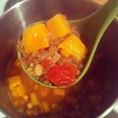 squash, lentil, and chickpea soup