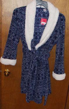 ULTA Plush Spa Bath Robe Size L / XL  Blue White  Women's #Ulta #Robes