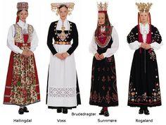 Norwegian national costumes, brides costumes