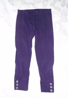 GYMBOREE PURPLE LEGGINGS, Solid basic Purple, Cuffed hem w/ clear buttons, 7 #Gymboree