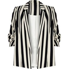 River Island Navy stripe ruched sleeve blazer ($60) ❤ liked on Polyvore featuring outerwear, jackets, blazers, coats, tops, sale, navy striped blazer, navy blazer, 3/4 sleeve blazer and white striped blazer