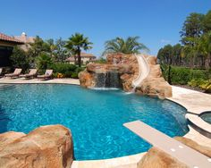 Amazing Mediterranean Pool With Diving Board Slide Waterfal And Jumping Rock Awesome Swimming Pool With Diving Board Pictures As Your Backyard Ideas Swimming Pool Slides, Amazing Swimming Pools, Swimming Pools Backyard, Swimming Pool Designs, Pool With Slide, Insane Pools, Diving Pool, Lap Pools, Indoor Pools