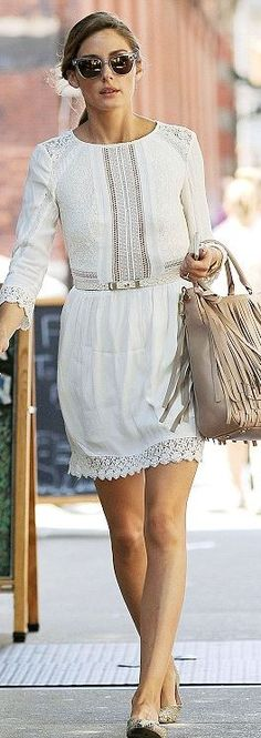 Who made Olivia Palermo's white lace dress, tan fringe handbag, and clear…