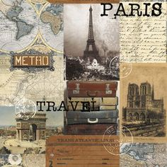 Whistler Studios - Destination Paris - Paris Collage in Multi