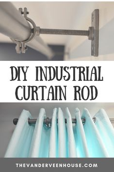 Make this easy DIY industrial curtain rod from plastic pipe and hardware store plumbing supplies. You won't believe this is plastic pipe! curtain rods Make this industrial curtain rod with brackets and finials from hardware store supplies Diy Industrial Interior, Industrial Interior Design, Industrial House, Pipe Curtain Rods, Finials For Curtain Rods, Curtain Rod Brackets, Plastic Curtains, Diy Curtains, Outdoor Curtains