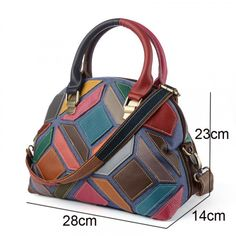 Retro Europe and America color stitching handbag seashell bag leather handbag leather shoulder Messenger bag This product is a hand-stitched bag the color is a random position color matching so Handmade Handbags, Handmade Bags, Handmade Leather, Tote Handbags, Purses And Handbags, Luxury Handbags, Cheap Handbags, Cheap Purses, Popular Handbags