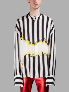 HAIDER ACKERMANN Haider Ackermann Men'S Black/White Striped Shirt. #haiderackermann #cloth #shirts