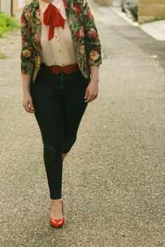 bb60575a6dfd Liana of Finding Femme wears Modcloth blouse with red necktie