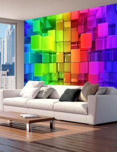 Carta da Parati Quadrati Colorati Carta da Parati Fotomurale con Sfondi e Disegni Geometrici