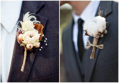Artificial rose, feather, berry and cotton boutonnieres