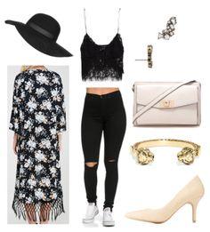 Black pants, black lace shirt, floral long cardigan, nude heels, crystal earrings, gold bracelet
