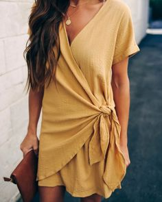 Lifetime of Love Wrap Mini Dress – 6 Colors - Party Business Trendy Outfits, Summer Outfits, Cute Outfits, Fashion Outfits, Peach Outfits, Elegant Maxi Dress, Fast Fashion, Dress To Impress, Casual Dresses