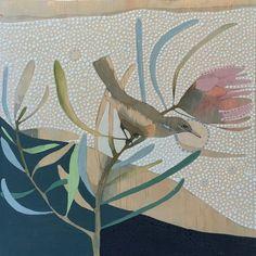 White-lined Honeyeater by Dana Kinter Protea Art, Bird Artwork, Modern Art Deco, Bird Drawings, Botanical Art, Disney Art, Urban Art, Art And Architecture, Painting & Drawing