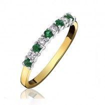 18ct Gold Emerald & Diamond Eternity Ring - E:0.19 D:0.11