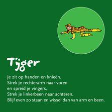 Rekken en strekken als een tijger. Kinderyogakaart Helen Purperhart