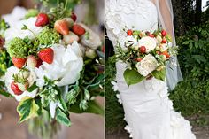 A strawberry wedding bouquet...red and white and green..that looks like summer to me!