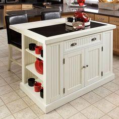 White Kitchen Island Distressed Look Granite Table Wood Vintage Storage Drawer In Home Garden