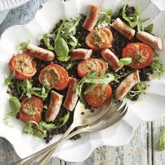 ROAST TOMATO AND CHIPOLATA SALAD WITH PUY LENTILS AND PESTO, a delicious recipe in the new M&S app.