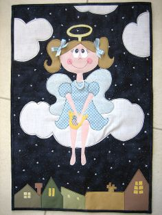 Angel Quilt by mamacjt Mini Quilts, Cute Quilts, Small Quilts, Baby Quilts, Applique Patterns, Applique Quilts, Quilt Patterns, Quilting Projects, Quilting Designs